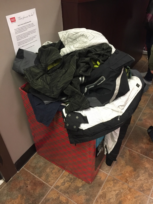 A pile of donations sits at one of #bundleupyeg's private collection boxes!